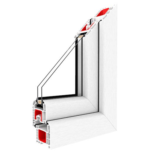 PVC fönster i genomskärning